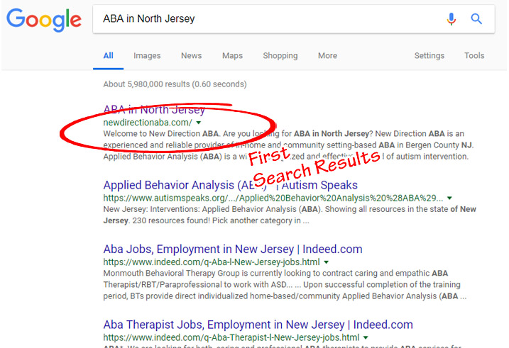 ABA Website Google Search Result